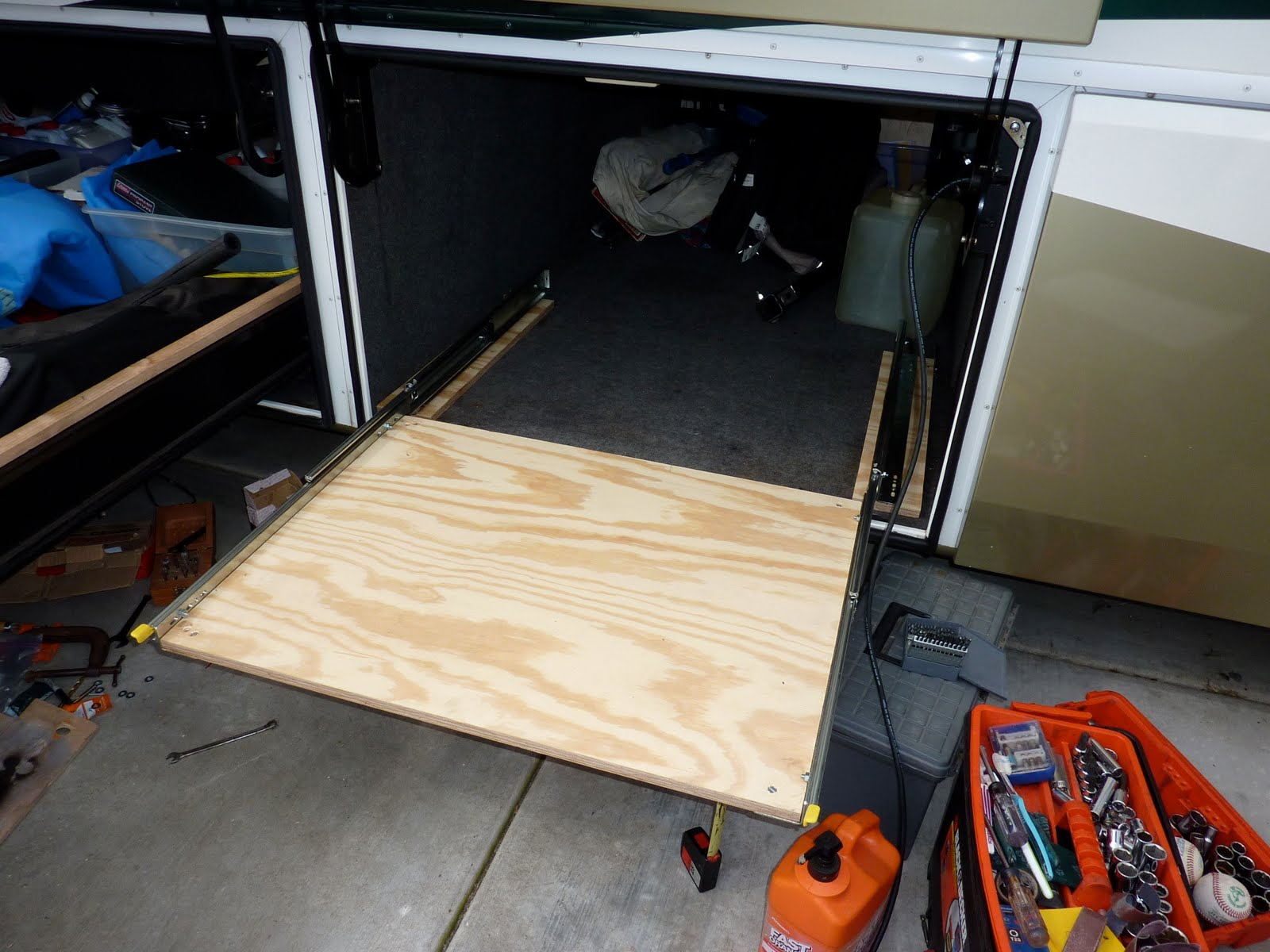 Rv now with jim twamley build your own rv slide out for Camper storage